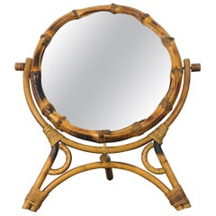 Adjustable Table Mirror Bamboo Rattan, Italy, 1950s