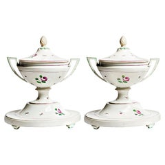Half of 18th Century Imperial Vienna Porcelain Pair of Soup Tureens