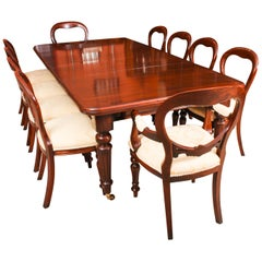 Antique Mahogany Dining Table 19th Century and 10 Balloon Back Chairs