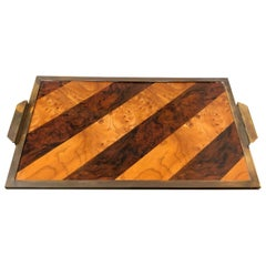 Mid-Century Modern Wood and Brass Tray in the Style of Gabriella Crespi