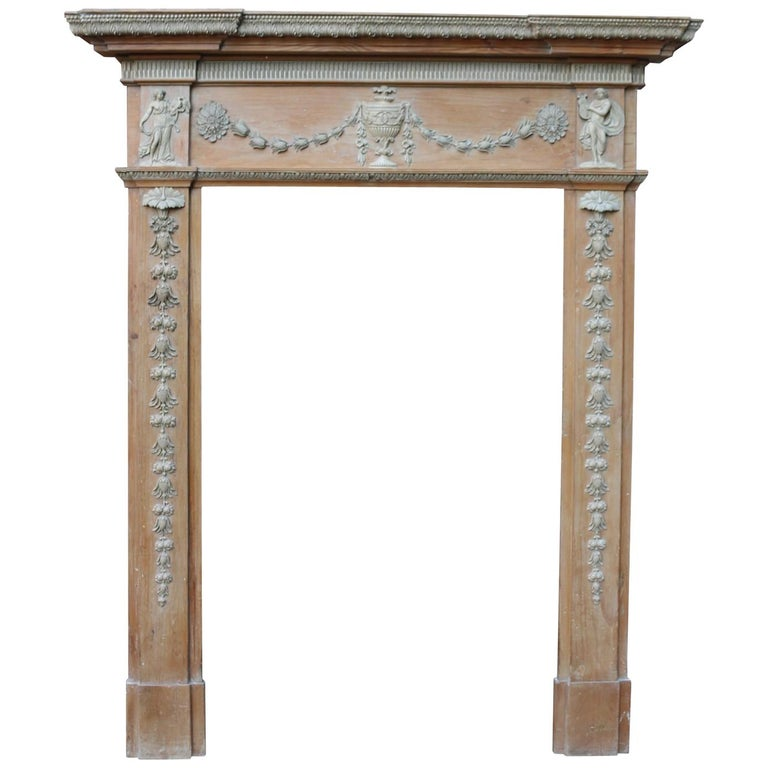 Antique Georgian Pine and Composition Fire Surround For Sale