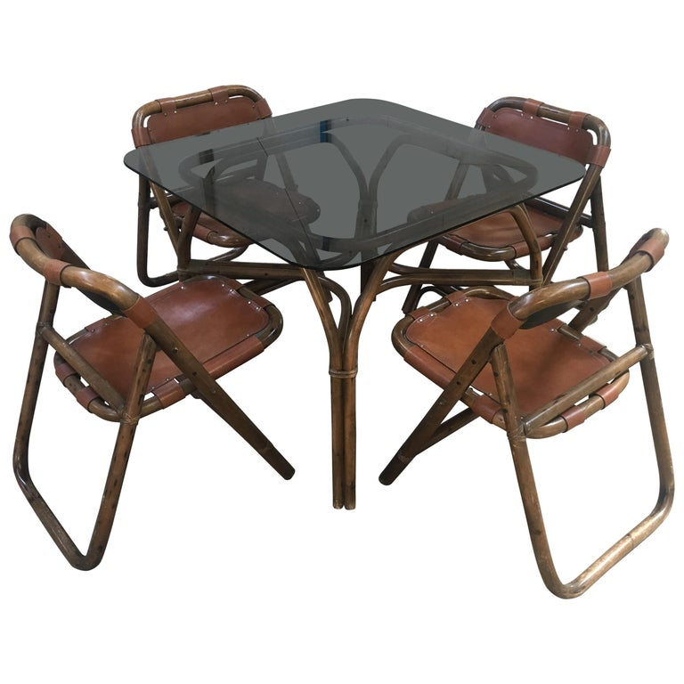 Enjoyable Mid Century Modern Italian Dining Room Bamboo And Leather Set By Lyda Levi 1970S Uwap Interior Chair Design Uwaporg