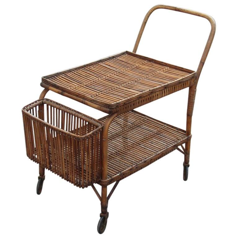 Italian Midcentury  Bar Cart Rattan, 1950s Italian Design