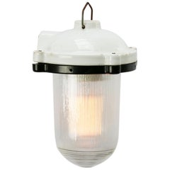 White Porcelain Vintage Industrial Holophane Glass Hanging Light