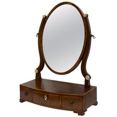 Mahogany Dressing Table Mirror of Small Proportions, Bowfronted Base 3 Drawers
