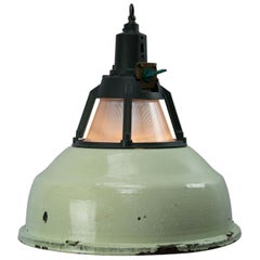 Green Enamel Vintage Industrial Holophane Glass Aluminum Top Pendant Lights (3x)