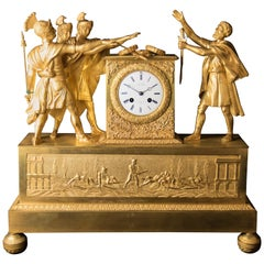 Empire Gilt and Patinated Bronze Mantel Clock