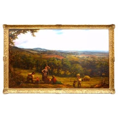 Large 19th Century Landscape 'Harvesting' by Linnell