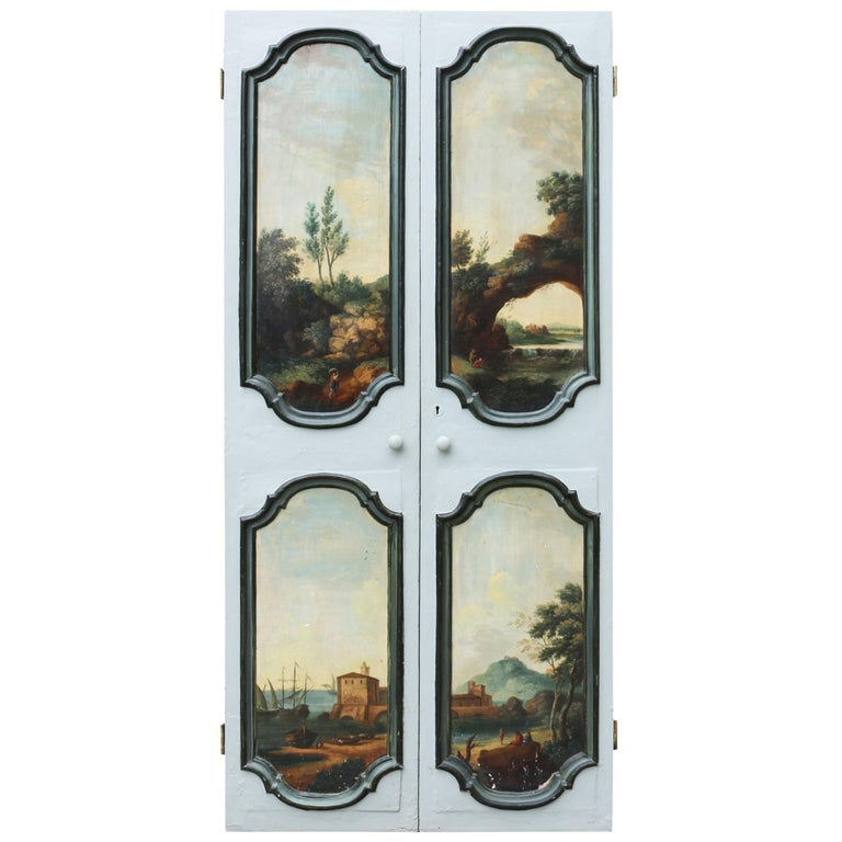 Pair of Antique Doors Painted with Classical Scenes For Sale