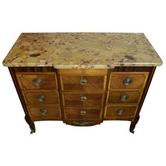 French 19th Century Commode in Kingwood, Original Marble Top