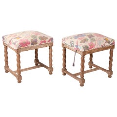 Pair of French Style Carved Wooden Upholstered Stools in Vintage Flower Pattern