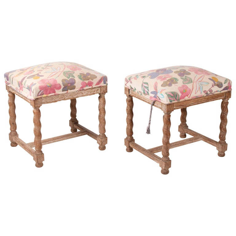 Pair of French Style Carved Wooden Upholstered Stools in Vintage Flower Pattern For Sale