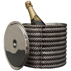 Coiled Rope Silver Plated Ice Bucket by Valenti, circa 1975