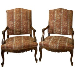 Pair of French Mahogany Provence Library Chairs with Carved Arms and Legs