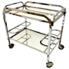 Bar Cart in Chromed Metal with removable Tray original French Art Deco, 1930s
