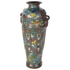 19th Century Japanese Bronze Champleve Enamel Vase Meiji Period , Antik