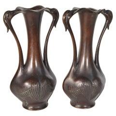 Pair of Japanese Vases 19th Century Bronze with Flamingo Decor Meiji Period