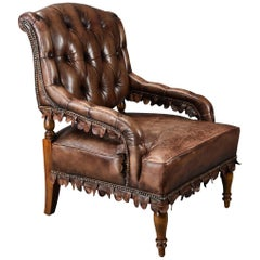 Highly Decorative 1930s French Brown Leather Open Armchair