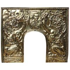 Antique Brass Repousse Fireplace Insert