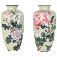 Pair of Japanese Vases 19th Century Bronze Enamel Cloisonne Meiji Period