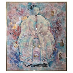 Extremely Large Beautiful Mixed-Media Painting of Asian Woman
