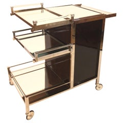 Bar Trolley by Jacques Adnet with 2 removable Trays original Art Deco, 1930s