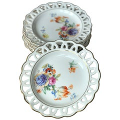 Rosenthal Dessert Set of Eight Hand Painted Porcelain Plates