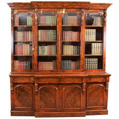 Antique Victorian Burr Walnut Breakfront Bookcase 19th Century