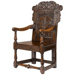 17th Century Carved Oak Wainscot Armchair