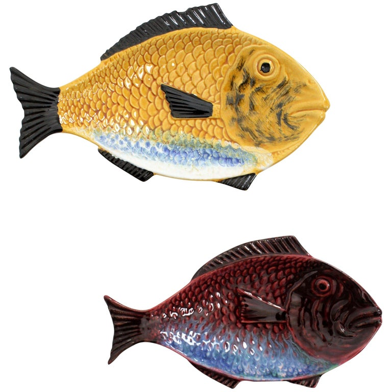 Pair of Mid-Century Modern Portuguese Red & Yellow Glazed Ceramic Fish Platters For Sale