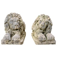 Pair of Neoclassical Style Carved Limestone Lions