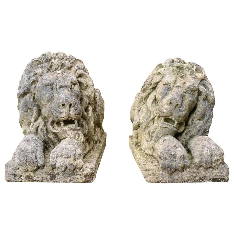 Pair of Neoclassical Style Carved Limestone Lions For Sale