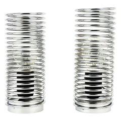 Midcentury Steel Chrome Spiral Pair of Table Lamps by Massive, Belgium, 1980