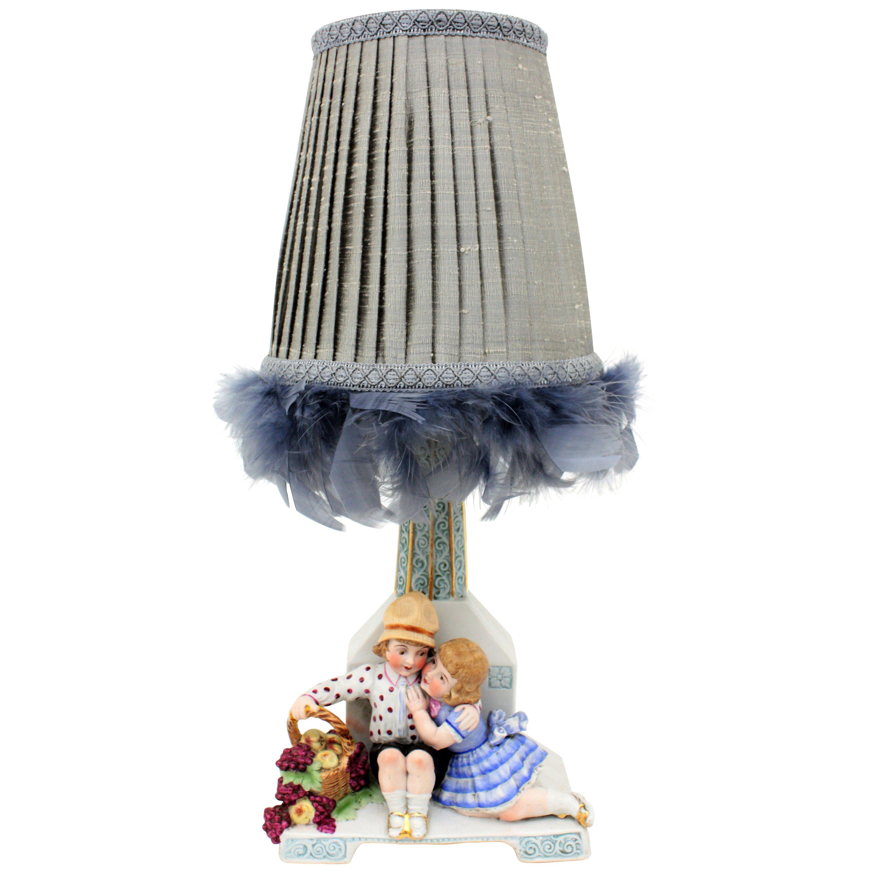 Art Deco Hand Painted Biscuit Porcelain Table Lamp with Children Figures