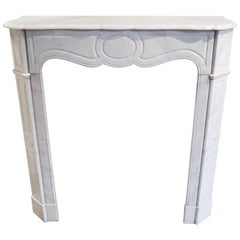 Antique Louis XV Pompadour Carrara Marble Mantel Piece with a Serpentine Shelf