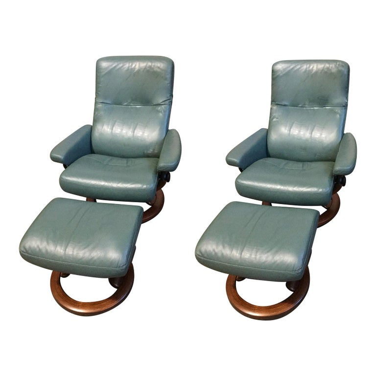 Super Cool Mid-Century Modern Stressless Chairs with Ottomans For Sale