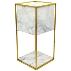1970s Spanish Mid-Century Modern Alabaster and Brass Cube Table Lamp