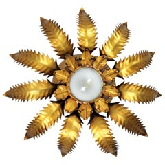 Spanish 1950s Brutalist Gilt Metal Leafed Sunburst Ceiling Light Fixture
