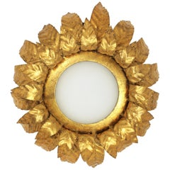 Spanish, 1950s Gilt Metal and Milk Glass Floral Sunburst Light Fixture