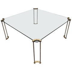 Minimalistic Square Brass and Glass Coffee Table by Peter Ghyczy for Ghyczy