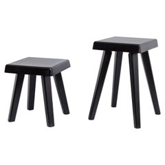 Pair of Pierre Chapo Special Black Edition Stools