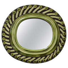 Decorative Ceramic Wall Mirror by François Lembo, 'circa 1960s'