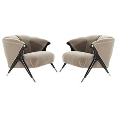 Modernist Karpen Lounge Chairs in Taupe Mohair, 1950s