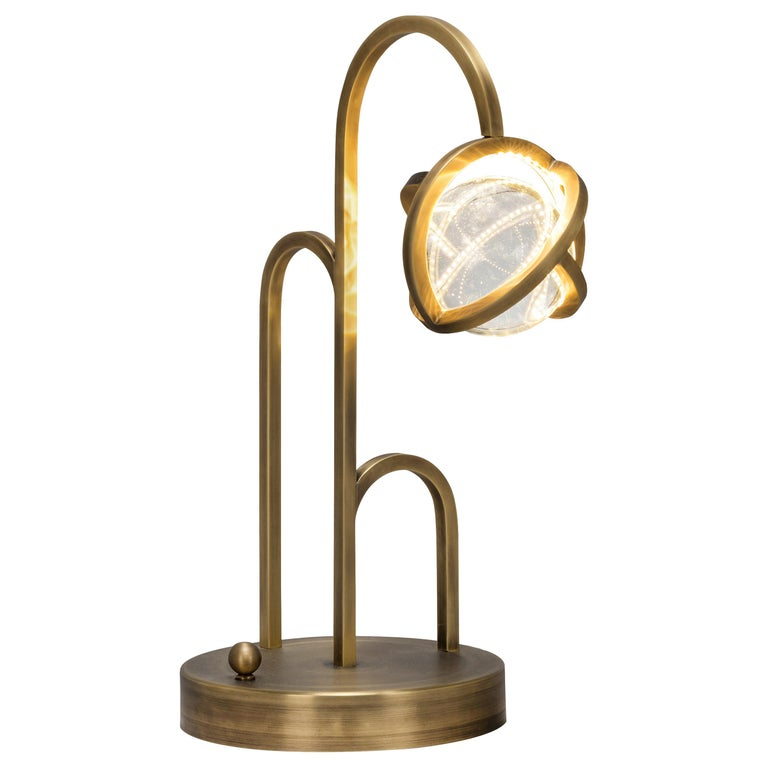 Planetaria Table Lamp, Dark Brass Frame and Glass Sphere by Lara Bohinc For Sale