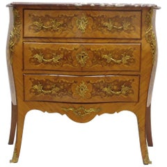 Marbled Topped Rococo Commode Made of Fruitwoods
