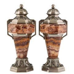 French Art Deco Marble and Bronze Urns, 1925