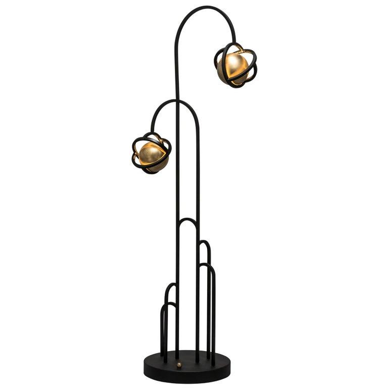 Planetaria Floor Lamp, Black Steel Frame and Brass Sphere by Lara Bohinc For Sale