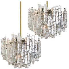 Pair of Large Modern Brass Ice Glass Chandeliers by J.T. Kalmar