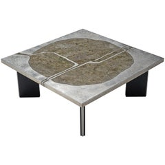 Metal and Stone Coffee Table, circa 1970