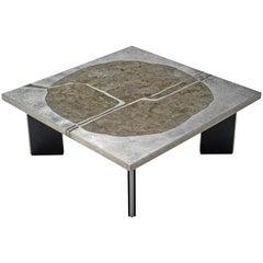 Metal and Stone Coffee Table, circa 1970
